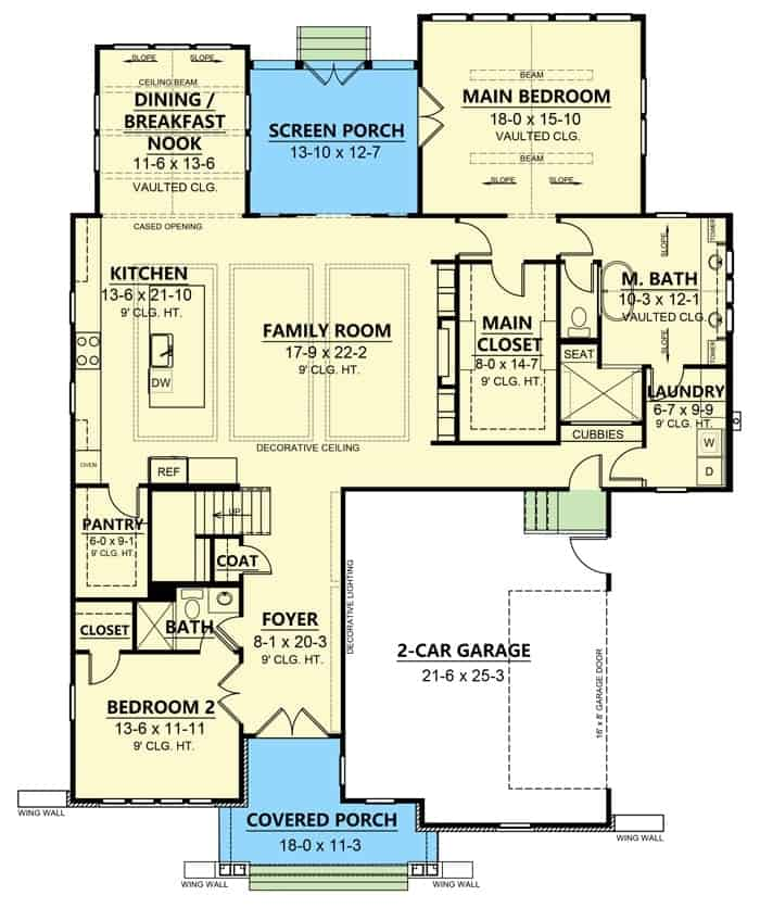 Main level floor plan of a three-story 6-bedroom New American home with foyer, family room, kitchen, dining area, laundry room, and two bedrooms including the primary suite that opens to the screened porch.
