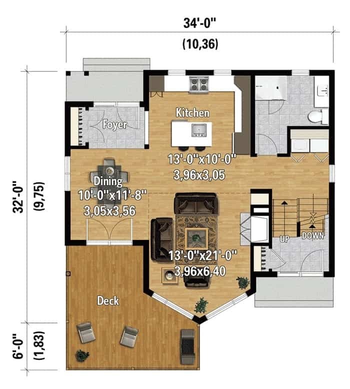 Main level floor plan of a two-story 2-bedroom mountain vacation home with foyer, kitchen, living room, full bathroom, and a dining area that opens to the large deck.