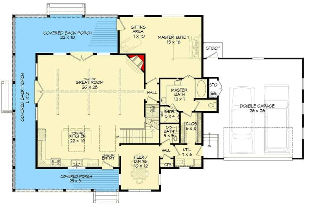 Main level floor plan of a two-story 3-bedroom country home with great room, kitchen, flex/dining, primary suite, utility, and a wraparound porch.