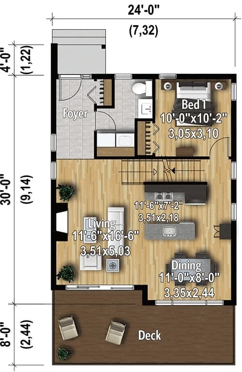 Main level floor plan of a two-story 3-bedroom hillside contemporary home with a foyer, living room, dining area, kitchen, bedroom, and a wide deck.