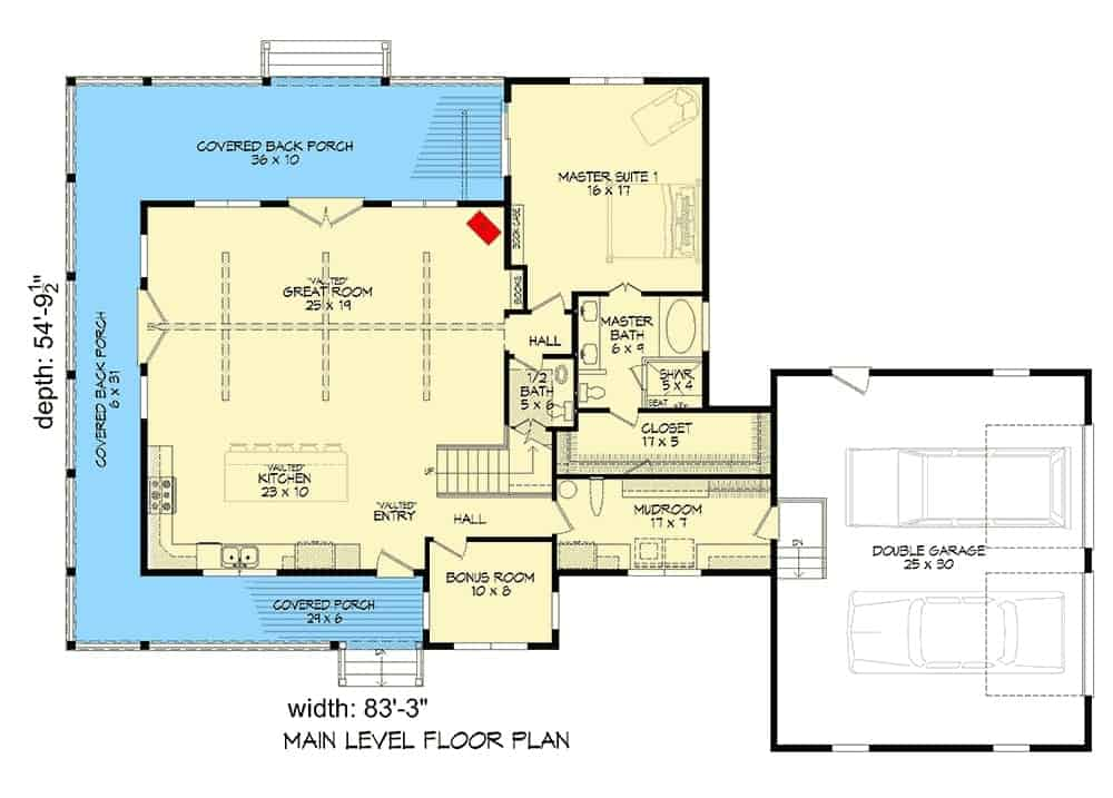 Main level floor plan of a two-story 3-bedroom modern farmhouse with vaulted entry, kitchen, great room, bonus room, primary suite, mudroom that opens to the double garage, and a wraparound porch.