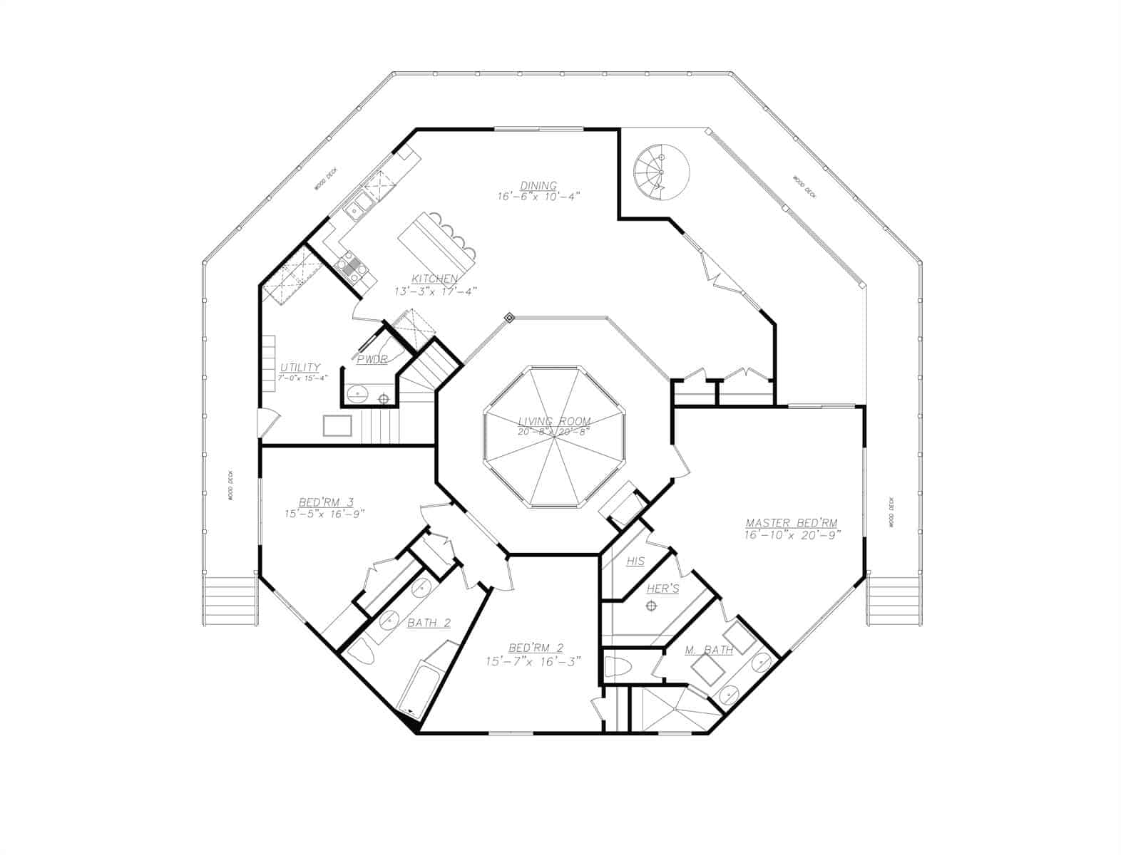 Main level floor plan of a two-story 3-bedroom modern octagon style home with living room, kitchen, dining area, utility room, three bedrooms, and a wraparound deck.