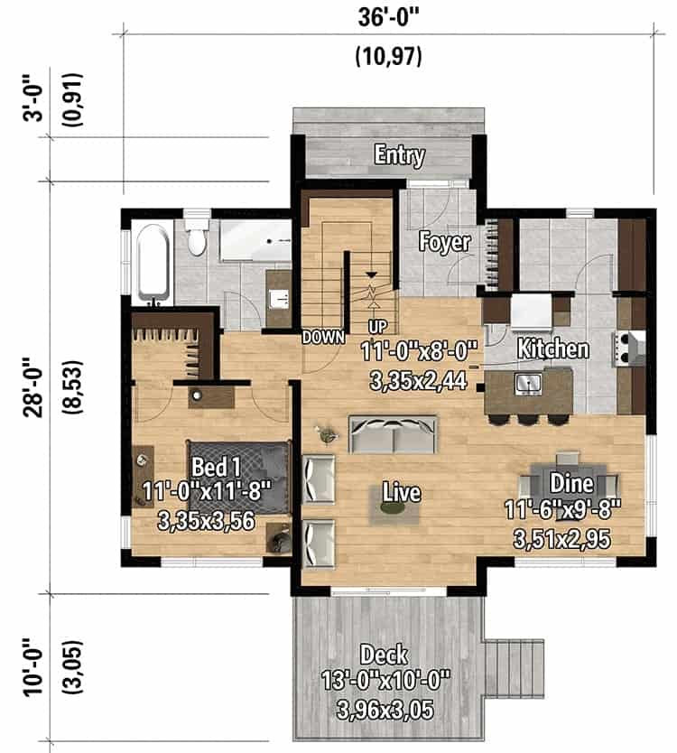 Main level floor plan of a two-story 3-bedroom New American contemporary home with foyer, living room, kitchen, dining area, a bedroom, and a sunny deck.
