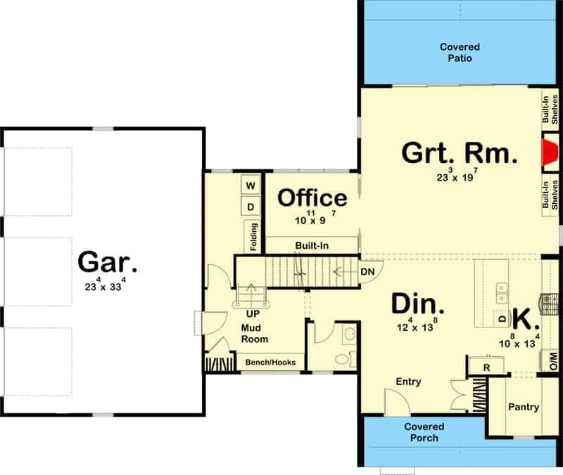 Main level floor plan of a two-story 3-bedroom ultra-modern farmhouse with dining area, kitchen, great room, office, and a mudroom that leads to the three-car garage.
