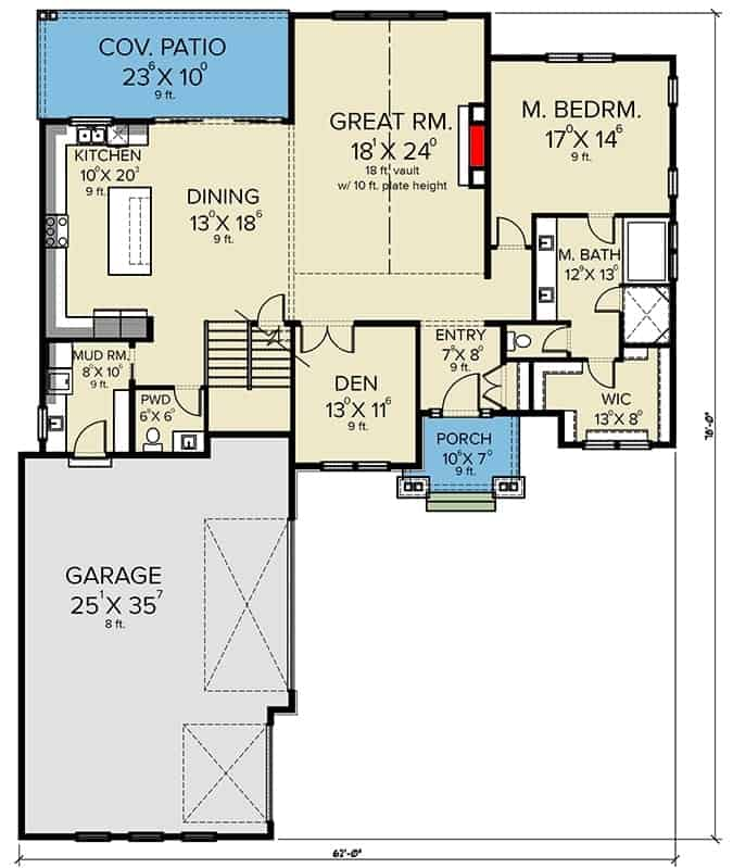 Main level floor plan of a two-story 4-bedroom country craftsman with front and rear poches, foyer, great room, dining area, kitchen, den, primary suite, and a mudroom that leads to the 3-car garage.