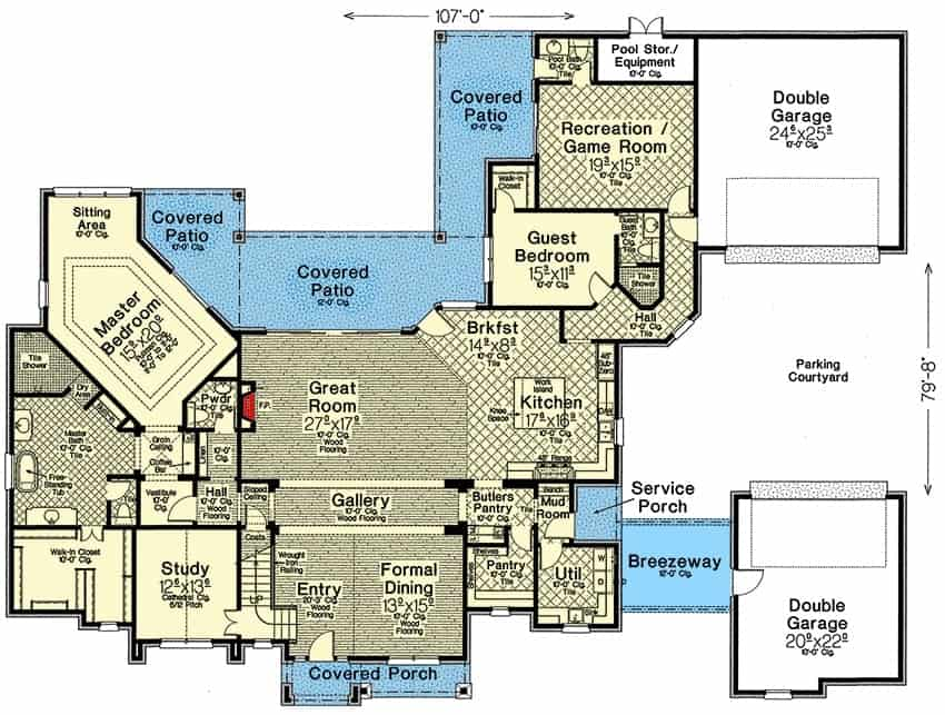 Main level floor plan of a two-story 4-bedroom exclusive hill country home with front and rear porches, foyer, great room, formal dining room, kitchen with breakfast nook, study, utility room, recreation room, and two bedrooms including the primary suite and guest bedroom.