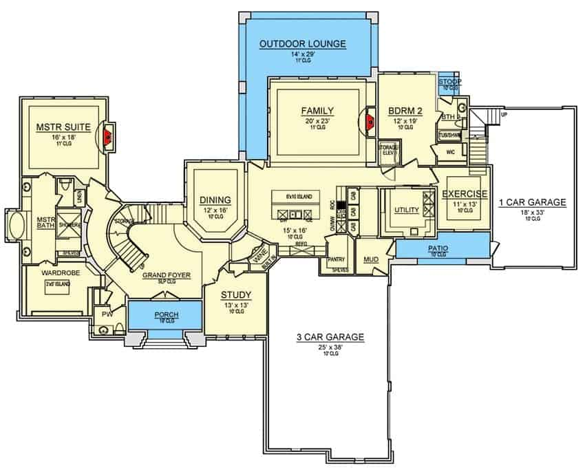 Main level floor plan of a two-story 4-bedroom traditional home with grand foyer, formal dining room, kitchen, family room, study, utility room, exercise room, and two bedrooms including the primary suite.