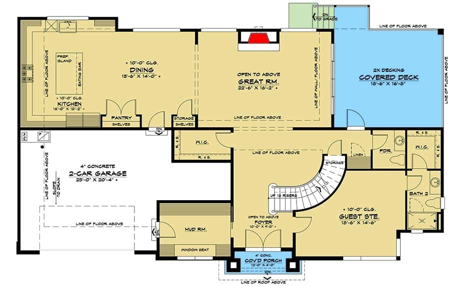 Main level floor plan of a two-story 5-bedroom contemporary northwest home with foyer, great room, kitchen, dining area, guest suite, and a mudroom that leads to the double garage.