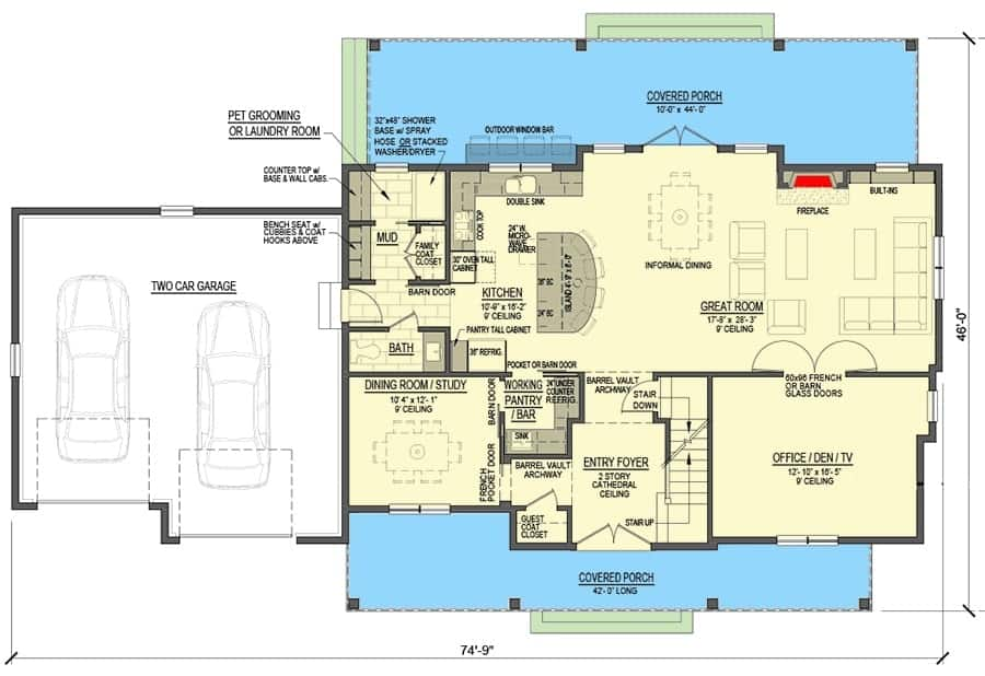 Main level floor plan of a two-story 5-bedroom modern farmhouse with front and rear porches, foyer, great room, kitchen, formal dining room, office/den, and a mudroom that opens to the double garage.