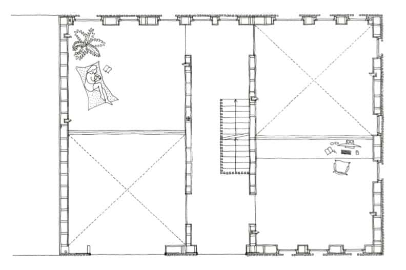 This is the illustration of the fourth level floor plan showcasing the various sections of the house.