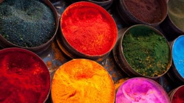 A close look at various natural powdered dye from plants.