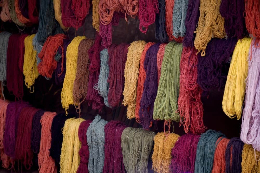 Clumps of various colorful dyed Llama wool.