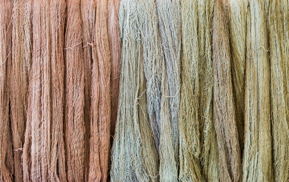 A close look at natural dyed Llama wool.