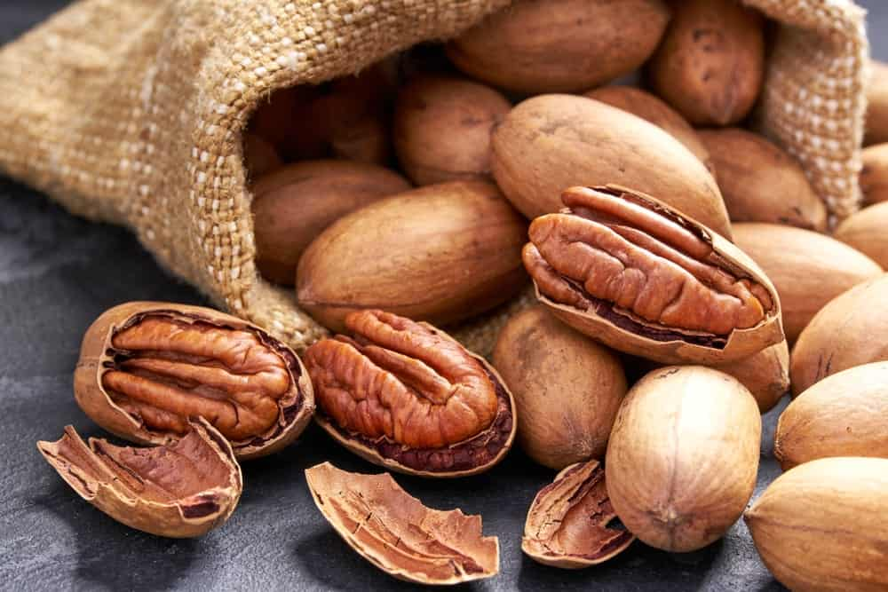A close look at a bunch of pecans from a sack.