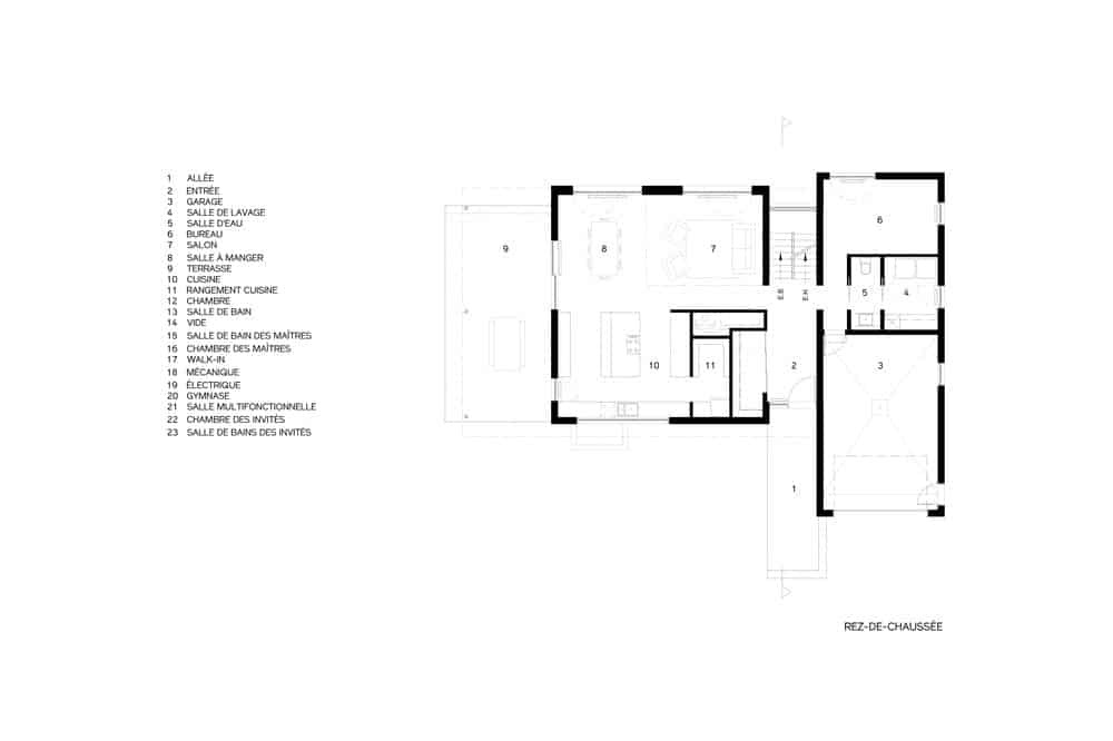 This is an illustrated representation of the main level floor plan of the house.