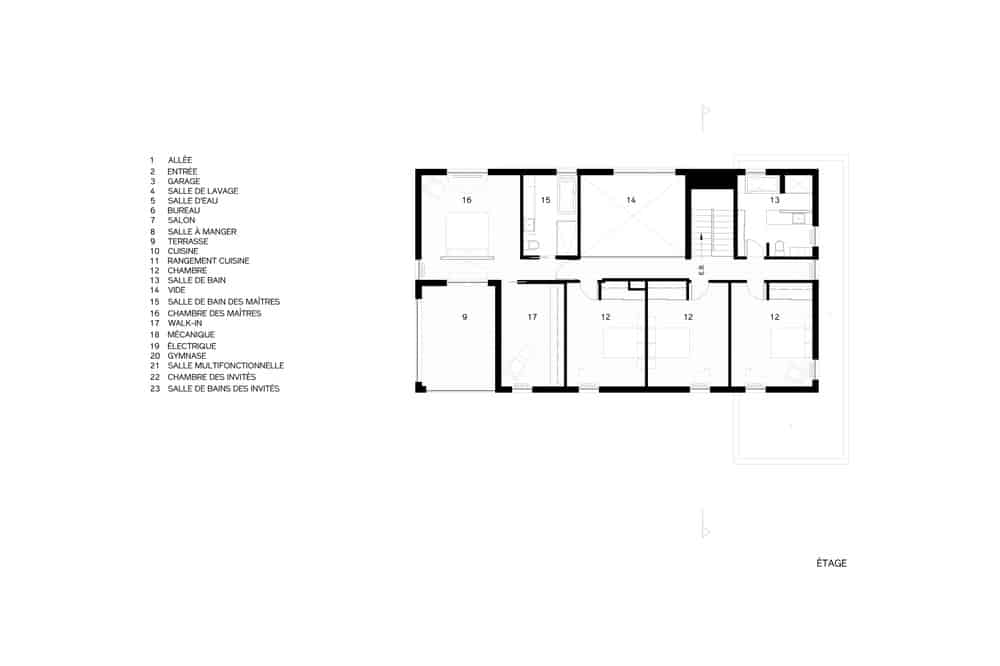 This is an illustrated representation of the second level floor plan of the house.