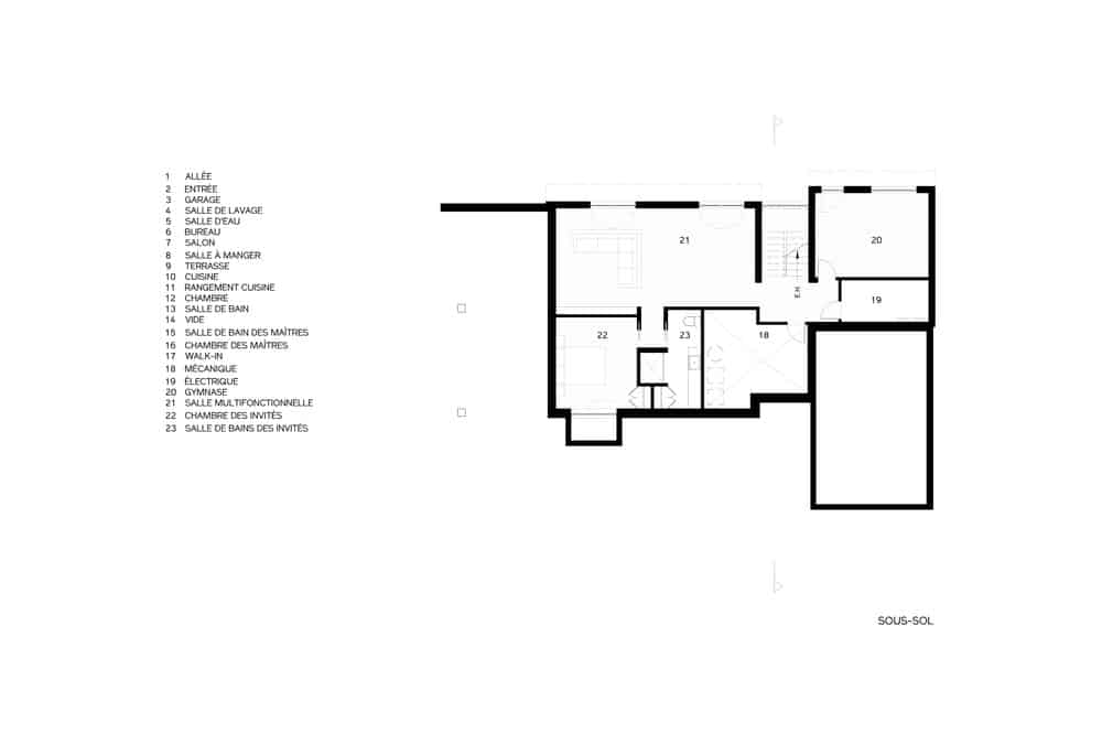 This is an illustrated representation of the basement level floor plan of the house.