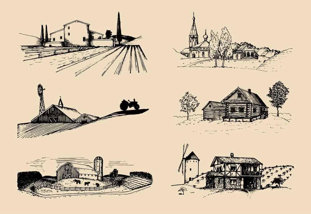 An illustration of various farm landscapes.