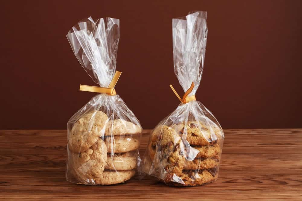 Two sets of cookies in cereal bags.