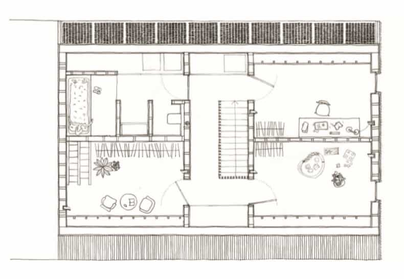 This is the illustration of the second level floor plan showcasing the various sections of the house.