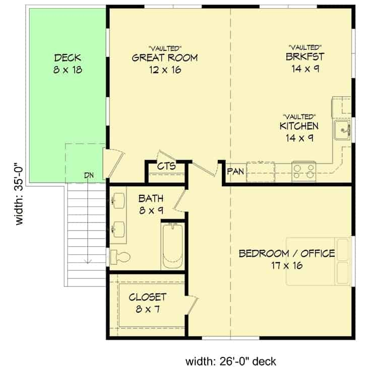 Second level floor plan with a great room, kitchen, breakfast nook, a bedroom suite that can serve as an office.