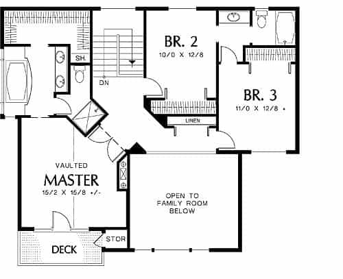 Second level floor plan with two bedrooms and a primary suite.