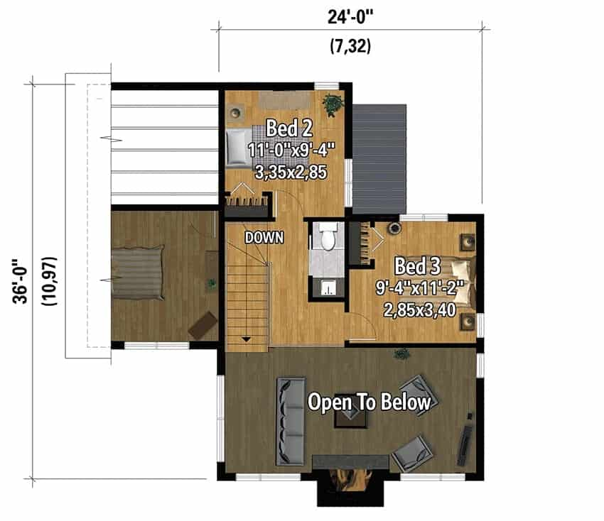 Second level floor plan with two bedrooms and a shared bath.