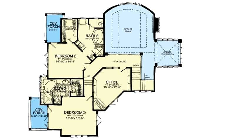 Second level floor plan with two bedrooms, office, and covered porches.