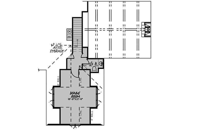 Second level floor plan with a bonus room complete with a half bath.