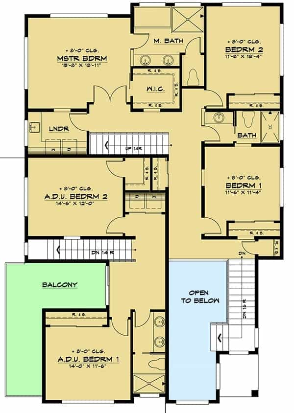 Second level floor plan with five bedrooms, three baths, and a laundry room.