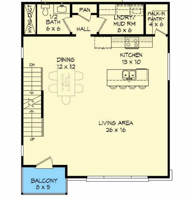 Second level floor plan with living room, dining area, kitchen, layundry room, and a half bath.