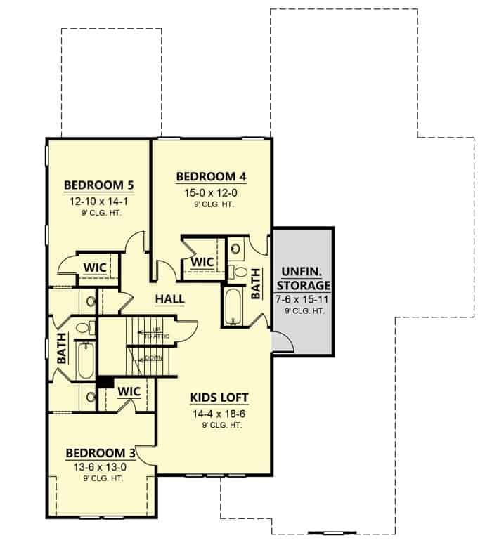 Second level floor plan with three bedrooms and a kids' loft.