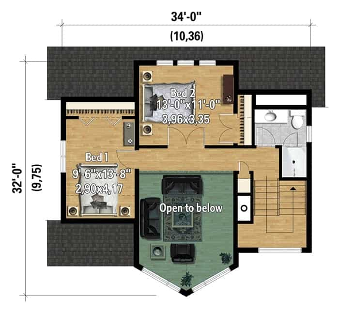 Second level floor plan with two bedrooms and a full bathroom.