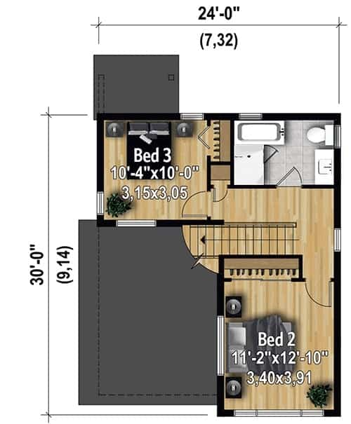 Second level floor plan with two bedrooms and a shared full bath.