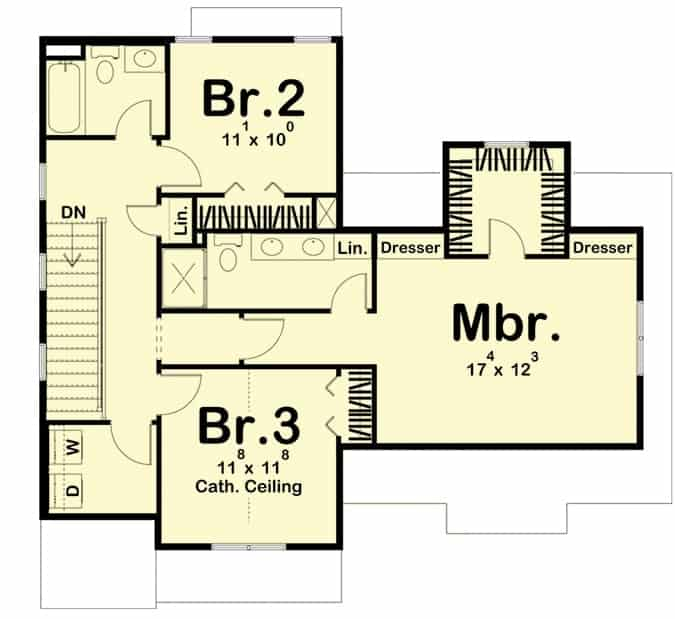 Second level floor plan with three bedrooms and two baths.