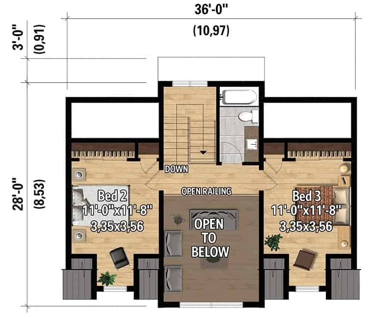 Second level floor plan with a full bath and two bedrooms connected by a balcony.