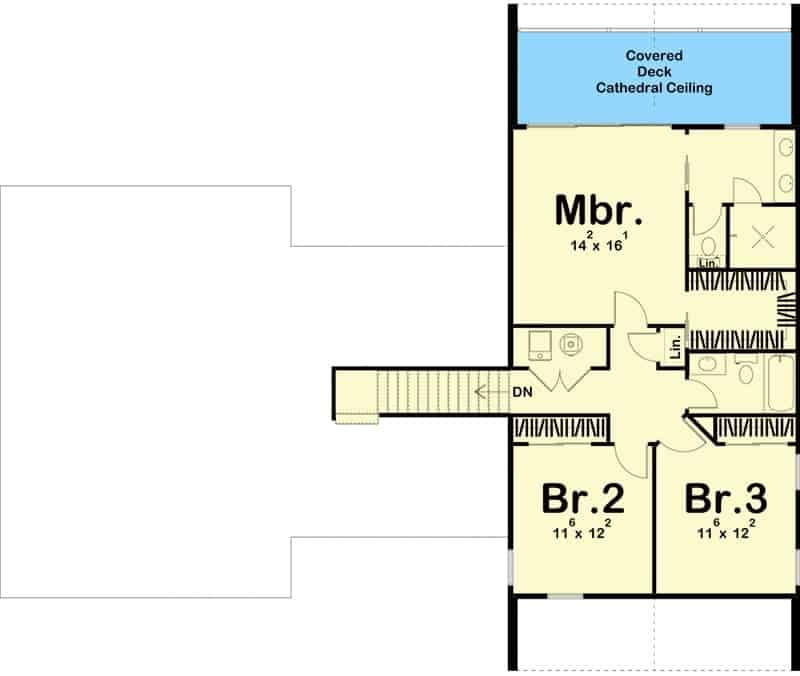 Second level floor plan with three bedrooms including the primary suite with a private deck.