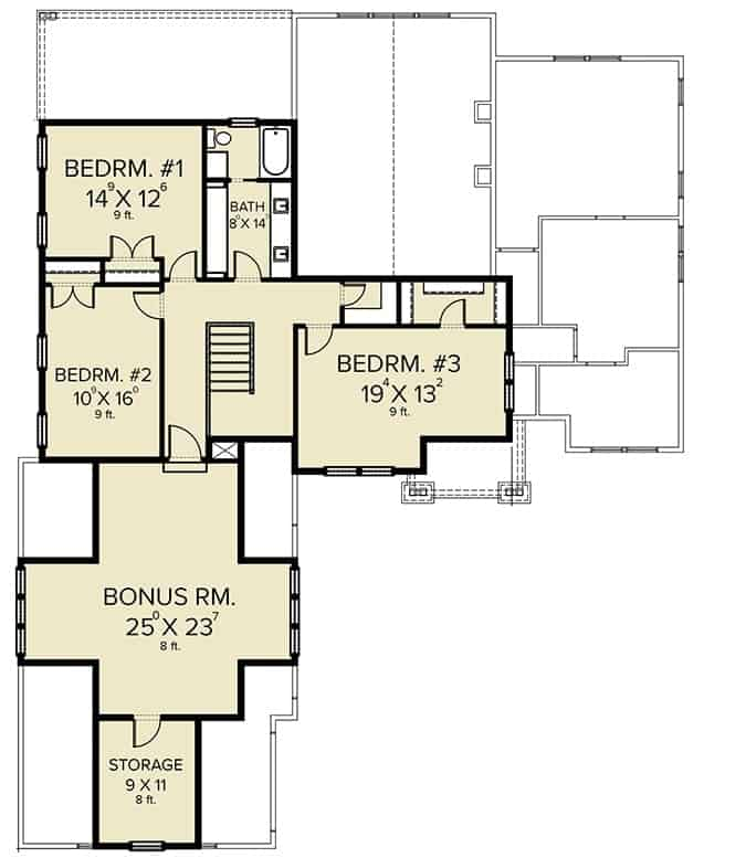 Second level floor plan with three bedrooms, a full bath, and a bonus room with a huge storage space.