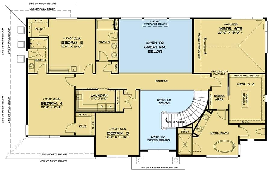 Second level floor plan with laundry room and four bedrooms including the primary suite.
