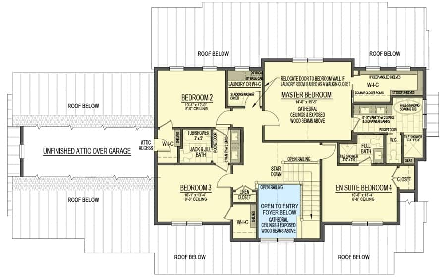 Second level floor plan with four bedrooms, three baths, and a laundry room.