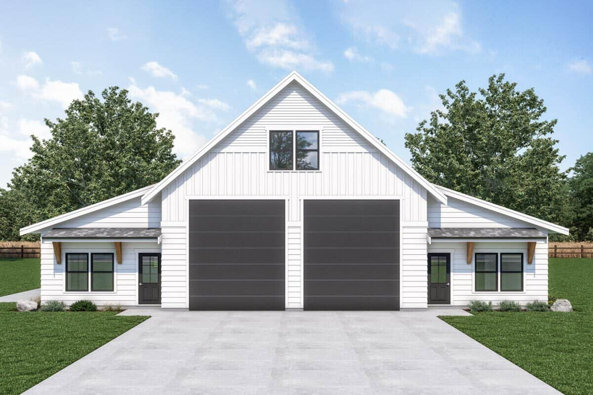 Single-Story 1-Bedroom Symmetrical Carriage Home with 3-Car Garage