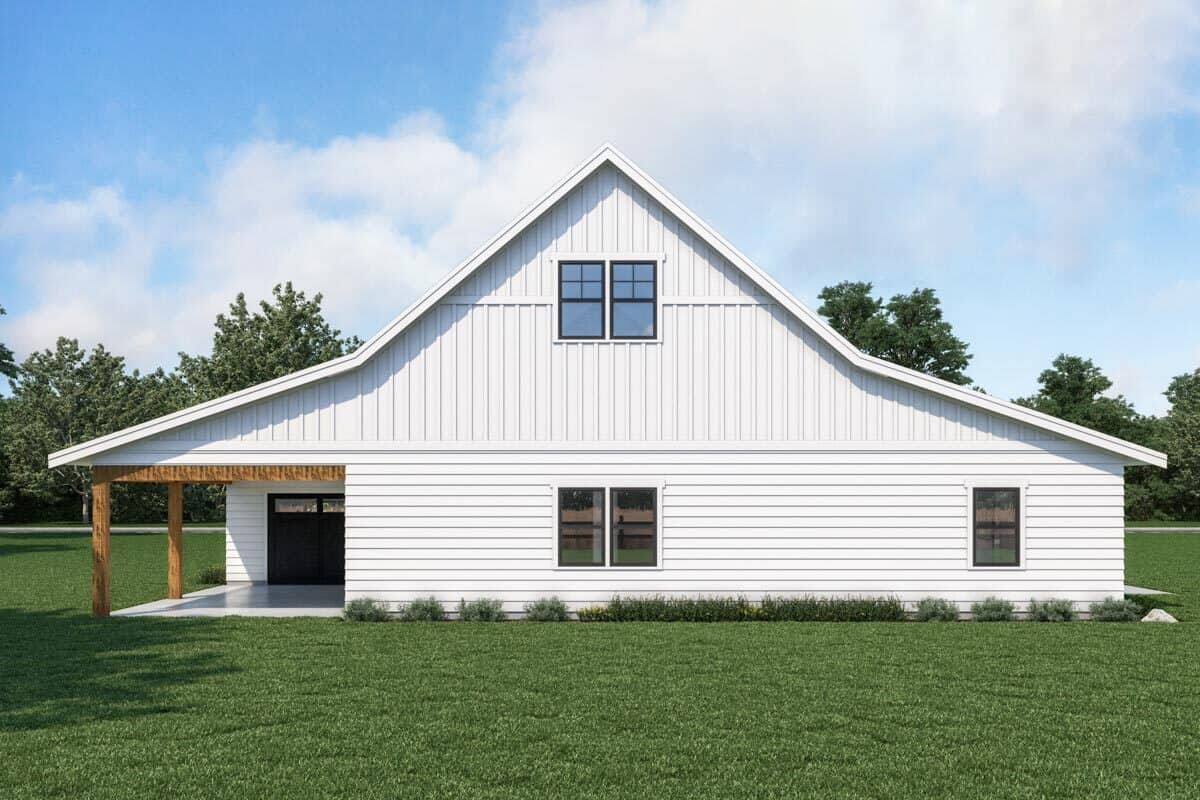 Rear rendering of the single-story 1-bedroom carriage home.