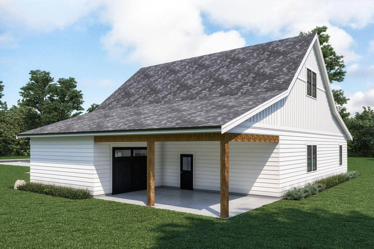 Right rendering of the single-story 1-bedroom carriage home.