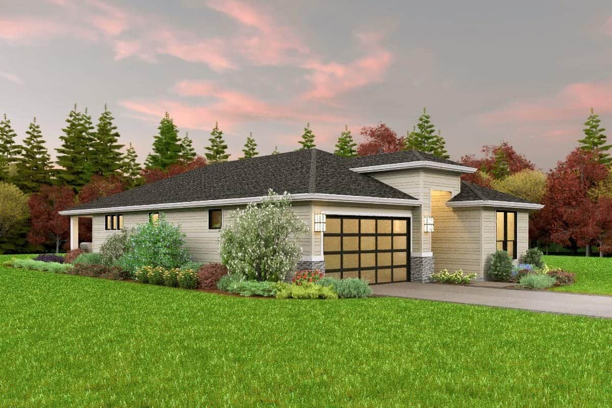 Left rendering of the single-story 3-bedroom contemporary home.