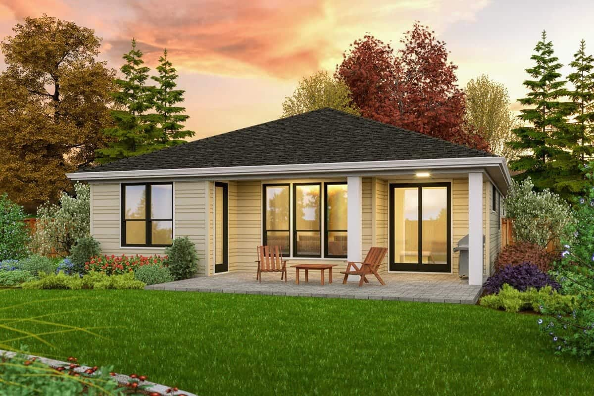Rear rendering of the single-story 3-bedroom contemporary home.