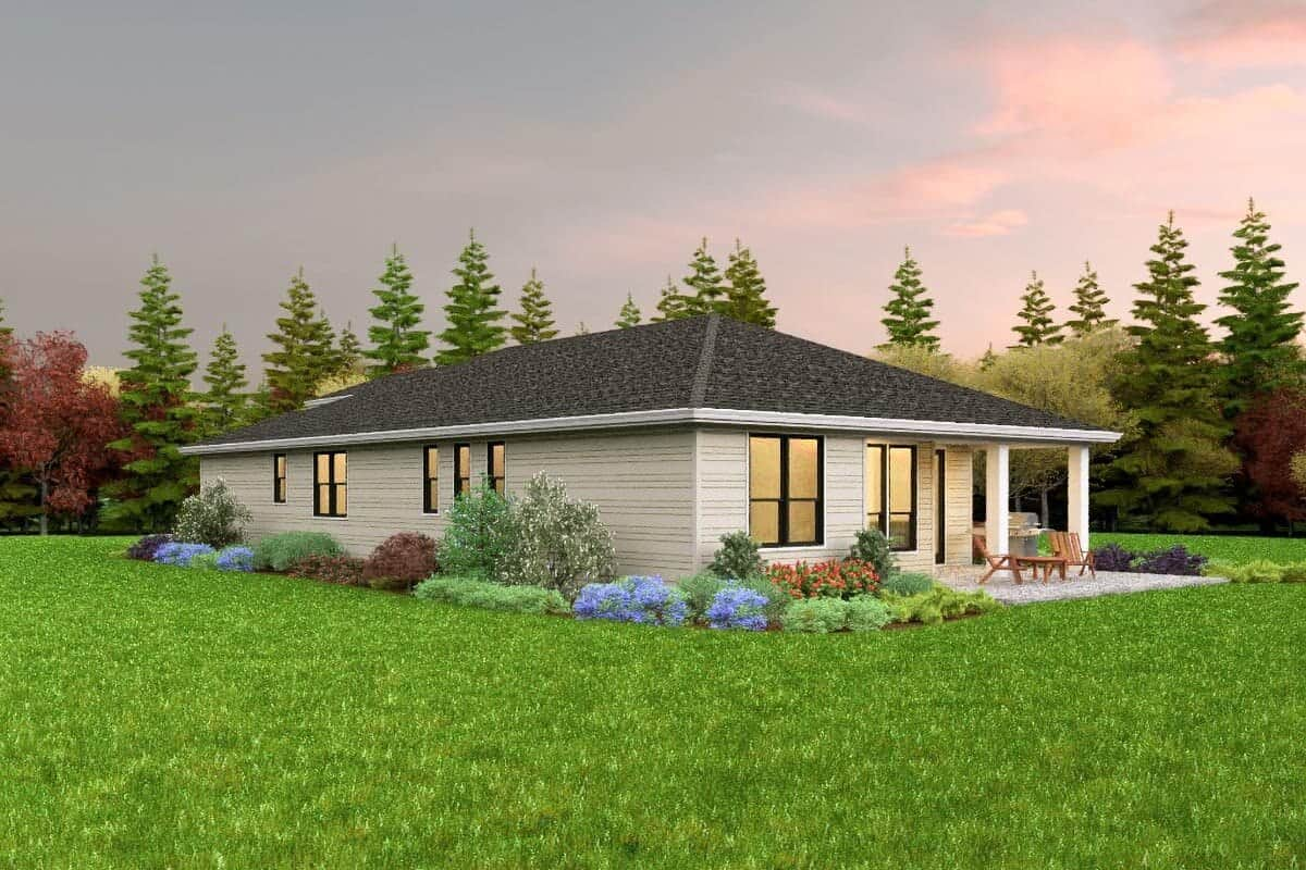 Right rendering of the single-story 3-bedroom contemporary home.