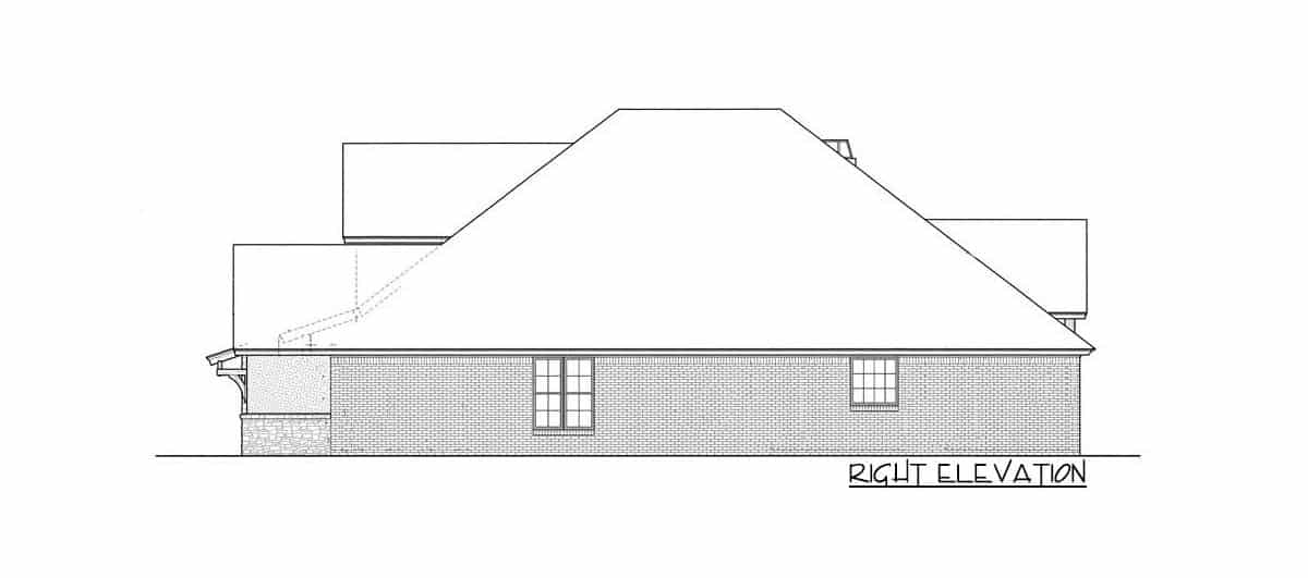 Right elevation sketch of the single-story 3-bedroom hill country home.