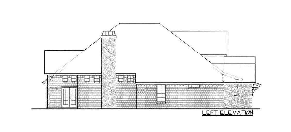 Left elevation sketch of the single-story 3-bedroom hill country home.