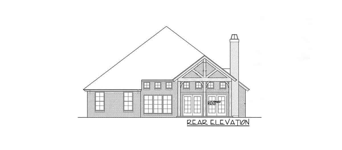 Rear elevation sketch of the single-story 3-bedroom hill country home.Rear elevation sketch of the single-story 3-bedroom hill country home.