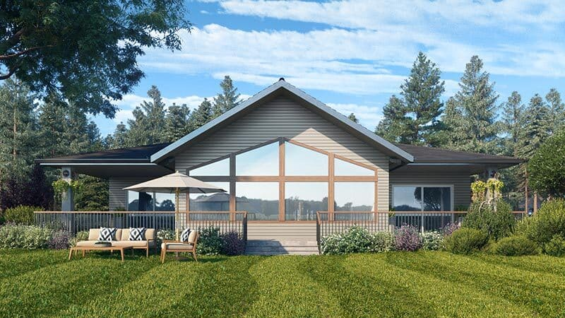 Rear rendering of the single-story 3-bedroom modern ranch.